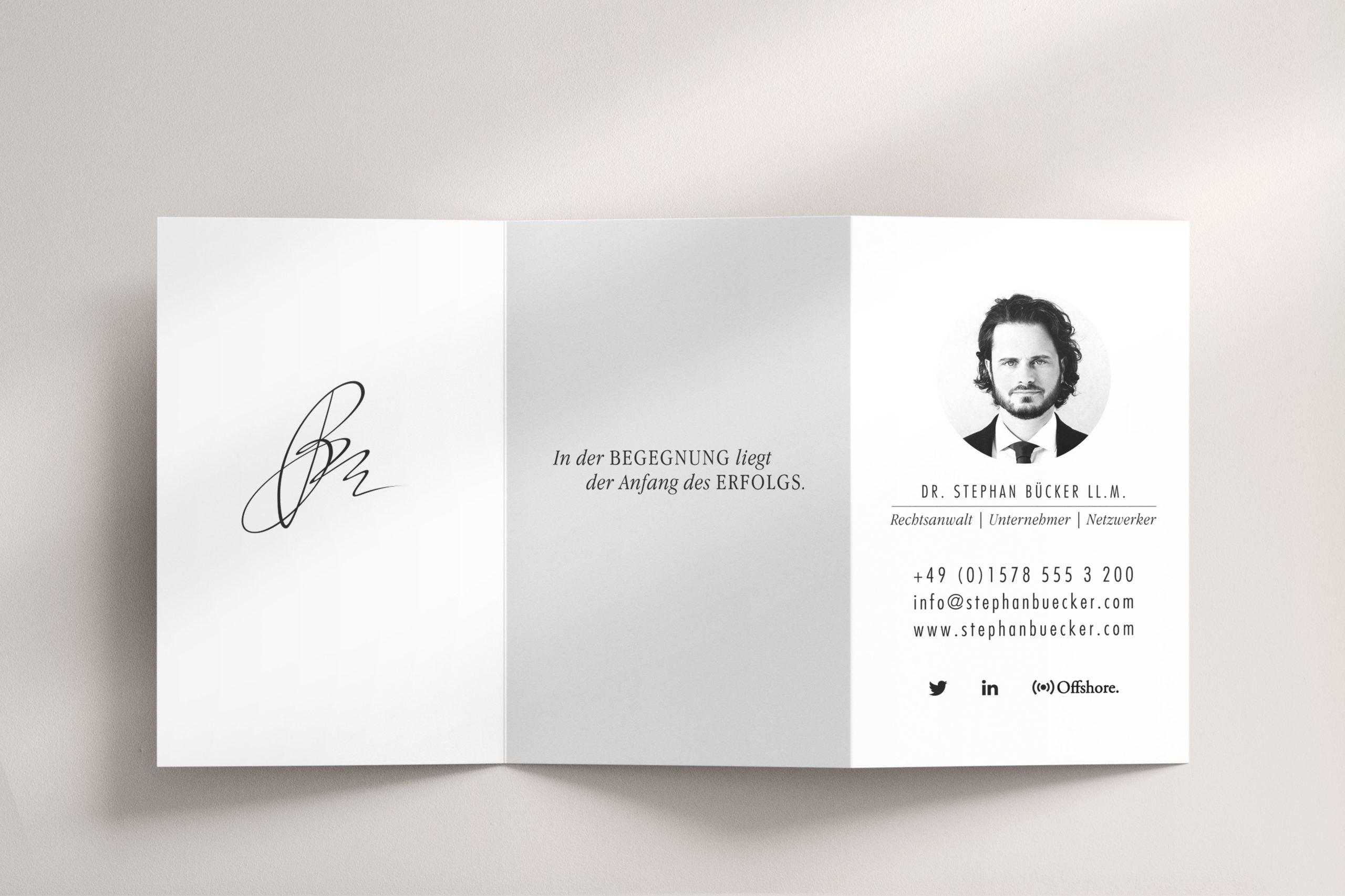 Dr. Stephan Bücker, 3-fache Visitenkarte, Design von Zena Bala